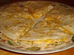 Chipotle Chicken Quesadillas - change to whole wheat tortillas and use light cheese.  YUM!