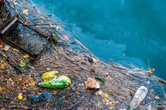 Water Pollution Old Garbage And Oil Patches On Water Surface Stock Photo - Image of recycle, nature: 41328838