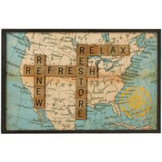 Midwest-CBK 'Relax' Letter Tile Wall Art ($45) ❤ liked on Polyvore featuring home, home decor, wall art, calligraphy wall art, quote wall art, midwest of cannon falls, word wall art and typography wall art