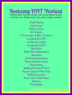 Wednesday Workout: 20 Minute Bootcamp HIIT Workout – Burpees to Bubbly 15 Minute Hiit Workout, Insanity Workout, Workout Diet, Workout Schedule, Workout Plans, Workout Challenge, Cardio Kickboxing, Tabata Workouts, Tabata Class