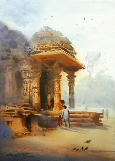 painting by Ganesh Hire Watercolor Architecture, Watercolor Landscape Paintings, Watercolor Artwork, Watercolor Illustration, Landscape Art, India Painting, Building Painting, Krishna Painting, Indian Art Paintings