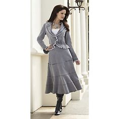 Jacket and Skirt, Rosette Denim from Monroe and Main.kinda reminds me of old west. Suits For Women, Buy Now, Skirt Set, Plus Size, Denim, Stylish, My Style, Coat, Womens Fashion