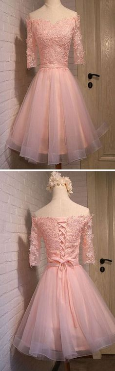2016 pink lace off shoulder with half sleeve cute freshman graduation – AlineBridal