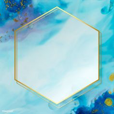 Download premium vector of Hexagon gold frame on abstract blue watercolor