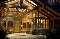 Timber frame entrance, see through to the back yard.