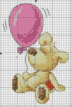 bear with a balloon cross stitch chart Cross Stitch Boards, Cross Stitch Love, Cross Stitch Alphabet, Cross Stitch Animals, Cross Stitch Kits, Cross Stitch Designs, Cross Stitching, Cross Stitch Embroidery, Baby Motiv