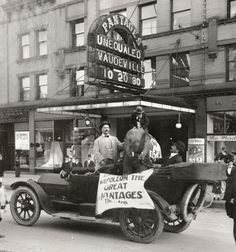 Pantages Theatre actors, along with an elephant and a monkey in a car, in front of the theater located on Broadway (300 South) in Salt Lake City. The theater later became the Victory Theatre. Photo Courtesy of the Utah Historical Society