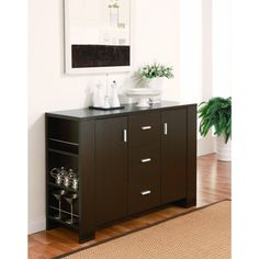 @Overstock.com - Clayton Cappuccino-finish Dining Buffet - Update your decor with this sleek dining buffet. Featuring four shelves, three drawers, and two cabinets, this stylish buffet in a warm cappuccino finish is a classy, modern piece that will help you quickly makeover your dining room.  http://www.overstock.com/Home-Garden/Clayton-Cappuccino-finish-Dining-Buffet/6240653/product.html?CID=214117 $279.99