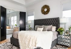 Master bedroom with black doors. Next At Home, First Home, Porch Styles, Interior Design Photography, Exterior Trim, Lots For Sale, Black Doors, Finding A House, Elegant Homes
