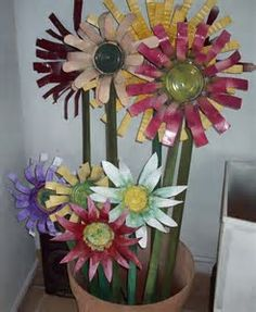 Image result for Flowers Made From Tin Cans