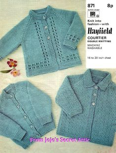 Vintage Hayfield Double Knitting Pattern 3 styles of cardigan PDF Vintage Double Knitting Pattern to make 3 styles of cardigan Baby Cardigan Knitting Pattern Free, Beginner Knitting Patterns, Cardigan Pattern, Free Knitting, Baby Boy Cardigan, Knitted Baby Cardigan, Brei Baby, Pull Bebe, Quick Knits