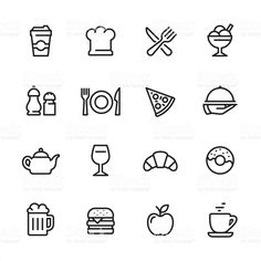 View Vector Art of Restaurant Outline Icon Set. Mini Drawings, Doodle Drawings, Easy Drawings, Small Doodle, Easy Doodle Art, Bullet Journal Banner, Bullet Journal Ideas Pages, Bullet Journal Icons, Restaurant Icon