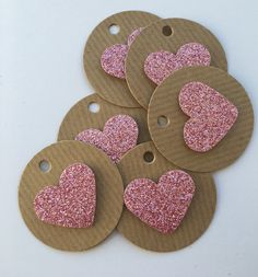 Items similar to 12 mini circular pink glitter heart gift tags, birthday Christmas party favor favours girls birthday gift tags on Etsy Diy Crafts For Girls, Diy Crafts Hacks, Scrapbook Patterns, Handmade Gift Tags, Paper Tags, Card Tags, Valentines Diy, Christmas Crafts, Paper Crafts