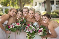 Beautiful Bride and her girls with gorgeous garden style bouquets