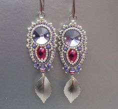 Check out Bead embroidery,  Earring, Seed bead jewelry, Trending jewelry, Embroidery jewelry, Swarovski, Silver, Lilac, Fuchsia, Summer style on vicus