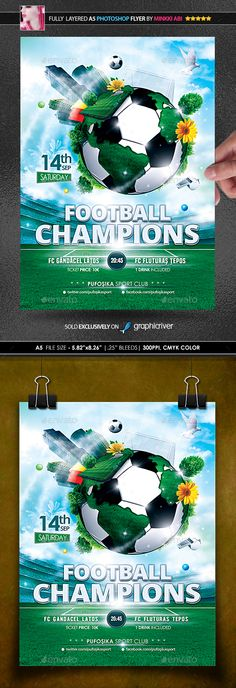 Football Champions Poster/Flyer #euro game #sport tournament  • Download here → https://graphicriver.net/item/football-champions-posterflyer/20822404?ref=pxcr