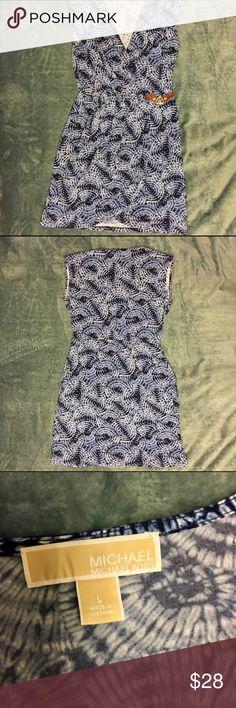 MICHAEL Michael Kors Faux Wrap Dress Blue Tie Dye Pre-owned MICHAEL Michael Kors Faux Wrap Dress Blue Tie Dye size Large MICHAEL Michael Kors Dresses