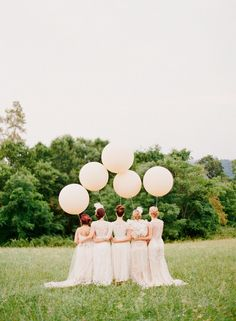 Balloons are a fun and festive idea for the bride who wants to forego flowers and plants altogether. via @domainehome