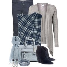 A fashion look from December 2013 featuring loose fitting tops, light gray cardigan and skinny fit pants. Browse and shop related looks. Navy Blue Pants, Grey Pants, Blue Plaid, Autumn Winter Fashion, Winter Style, Loose Fitting Tops, Office Looks, Grey Cardigan, Fashion Outfits