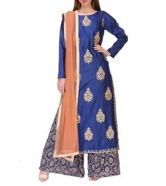 Blue Chanderi Silk Zari Kurti Set #indianroots #ethnicwear #kurtiset #chanderi #silk #zari #occasionwear #eveningwear #summerwear
