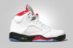 Air Jordan 5 Retro White/Fire Red-Black