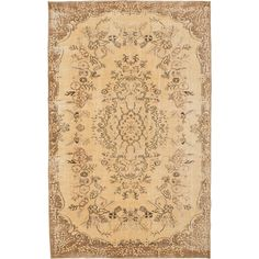 Ecarpetgallery Hand-knotted Anatolian Sunwash Yellow Wool Rug (5'6 x 8'10) (Yellow Light Gold Rug (5' x 8')), Black, Size 5' x 8' (Cotton, Oriental)