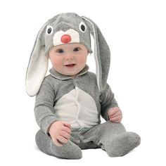 Lil' Grey Bunny Babies romper/coveralls/onesie - This sweet, grey marl baby bunny costume and hat is made from the softest cotton blend. Create memorable moments that are as adorable as the age. (Gifts, Gifts for Baby, Baby Shower Gift, Baby clothing) # Baby Bunny Costume, Koala Costume, Toddler Costumes, Baby Costumes, Unique Baby Gifts, New Baby Gifts, Grey Bunny, Baby Bunnies, Baby Boutique