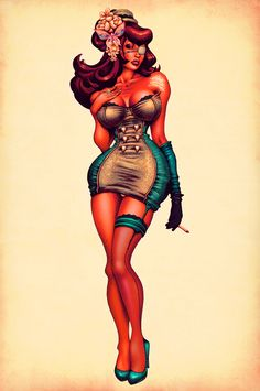 25 Really Red Hot Vintage Style Pinup Illustrations