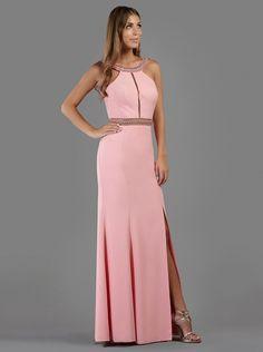 Βραδινό μακρύ φόρεμα με κέντημα και σκίσιμο μπροστά - Βραδυνά Φορέματα
