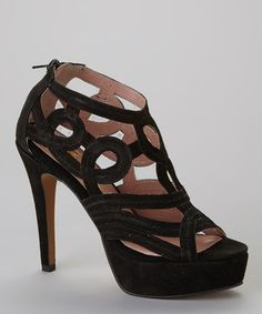 Take a look at this Black Allesandra Peep-Toe Pump by Gwyneth Shoes on #zulily today!