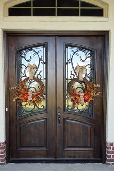 double front entry doors Double Door Double Door Fall Wreathes with Pumpkin and Burlap Bow, Autumn Wreath, Front Door Wreaths Double Front Entry Doors, Double Door Wreaths, Iron Front Door, Front Door Entrance, Exterior Front Doors, Glass Front Door, Iron Doors, Door Entryway, Entrance Ideas