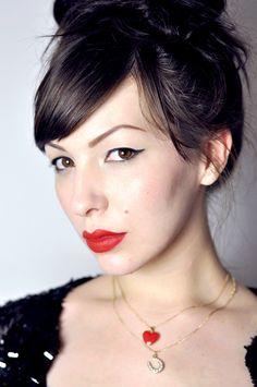 maquillage naturel lèvres rouge