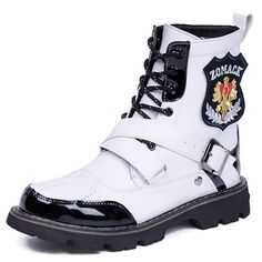 Men White Patent Leather Lace Up Gothic Punk Battle Fashion Boots SKU-1280673