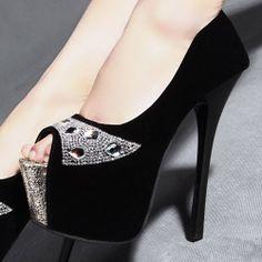 D79821 Kvoll Spring New Style Rhinestone Peep-toe High-heeled Pump Black