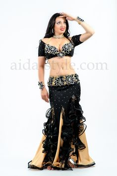 bc5189989d49 Black custom made professional belly dance outfit decorated with golden  flounces Belly Dance Outfit, Belly