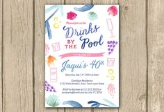 Adult Pool Party birthday invitation adult by DulceGracePrintables