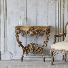 1890 Dusty Weathered Gilt Antique Console Table