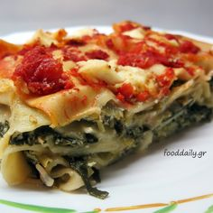 Λαζάνια με σπανάκι και ντομάτα Greek Recipes, Veggie Recipes, Pasta Recipes, Cooking Recipes, Healthy Recipes, Veggie Food, Vegetable Bolognese, Pasta Noodles, Pasta Dishes