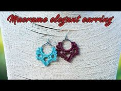 Macrame Earrings Tutorial, Earring Tutorial, Diy Earrings, Crochet Earrings, Macrame Rings, Micro Macrame, Crochet Baby, Diy Crafts, Elegant
