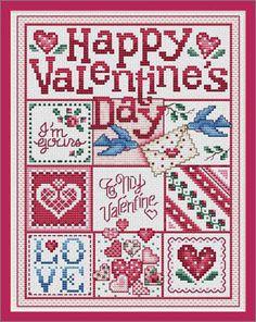 """Cross Stitch Craze: """"Happy Valentine's Day"""" by Sue Hillis Designs"""