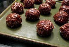 Healthy Chocolate Mudballs- peanut butter, honey, oatmeal, wheat germ, sesame seeds, chocolate chips!