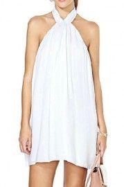 ROMWE Backless Self-tied Sheer White Halter Dress