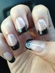 Sparkly black French tip nails