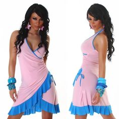 Rózsaszín türkiz fodros női ruha - Női ruha webáruház c1107899d0