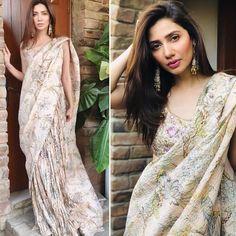 Mahira Khan, Printed Sarees, Bollywood Fashion, That Look, Sari, Elegant, Prints, Instagram, Classy