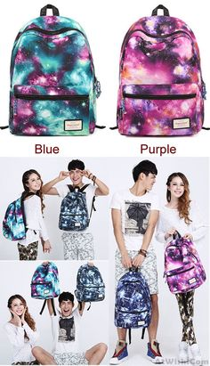 blue or purple? Shining Cool Galaxy Travelling College Backpacks