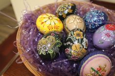 Another basket with hand painted chicks on some and sequins and seed beads on others and some of the 1 Euro eggs from the Vegetable markets.