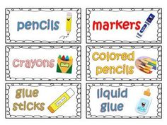 Classroom Supply Labels for Primary Teachers with Picture