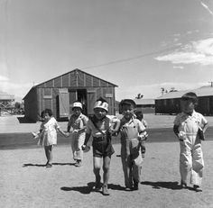 Pre-school children on the way to their barrack homes from morning class. Manzanar, California, Photo by Dorothea Lange. San Bruno, Japanese American, Documentary Photographers, Historical Pictures, Pre School, Vintage Photos, Photo Galleries, School Children, History