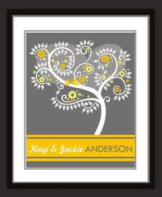 Personalized Wedding Signature Tree- anniversay print or gift...16x20 75 signatures